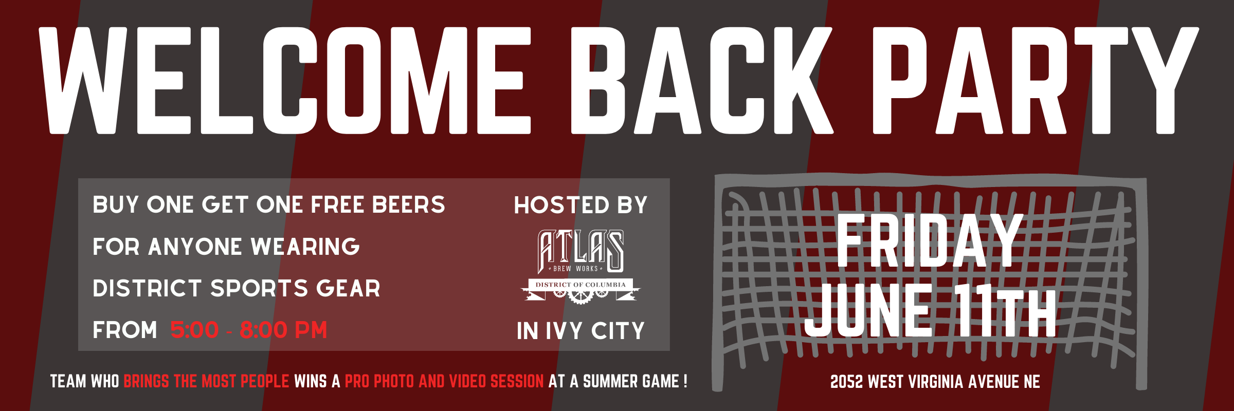 6/11 – Welcome Back Party at ATLAS BREW WORKS in Ivy City